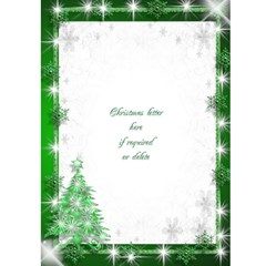 Snowflake Merry Christmas (green) 5x7 Card By Deborah   Greeting Card 5  X 7    20ijq6zbrgi5   Www Artscow Com Front Inside
