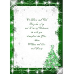Snowflake Merry Christmas (green) 5x7 Card By Deborah   Greeting Card 5  X 7    20ijq6zbrgi5   Www Artscow Com Back Inside