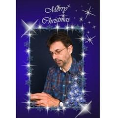 Snowflake Merry Christmas (blue) 5x7 Card By Deborah   Greeting Card 5  X 7    Dia5mlquqdbs   Www Artscow Com Front Cover