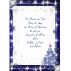 Snowflake Merry Christmas (blue) 5x7 Card By Deborah   Greeting Card 5  X 7    Dia5mlquqdbs   Www Artscow Com Back Inside