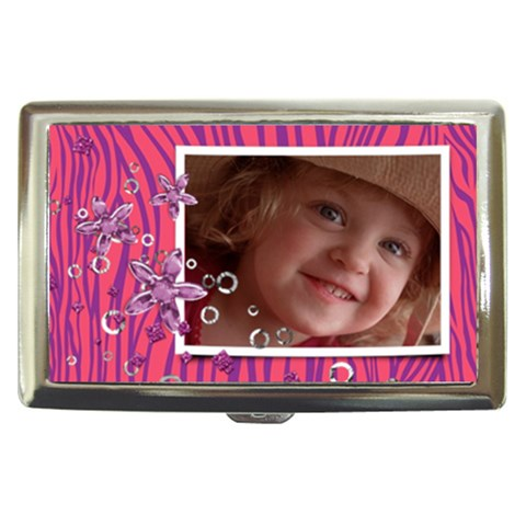Hot Pink Zebra & Glitter  Money Case By Mikki   Cigarette Money Case   5xz40oastolc   Www Artscow Com Front