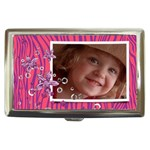 Hot Pink Zebra & glitter- money case - Cigarette Money Case