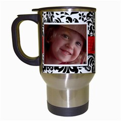 Black & White Damask Travel Mug By Mikki   Travel Mug (white)   Pmudvwu1w7k9   Www Artscow Com Left