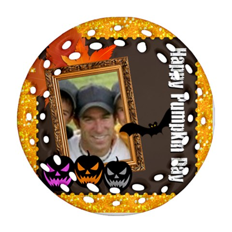 Halloween By Joely   Ornament (round Filigree)   M2ve8eaisdko   Www Artscow Com Front