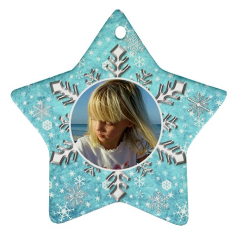 My Blue Snowflake Star Ornament By Deborah   Ornament (star)   Eo5jyet6m9b9   Www Artscow Com Front