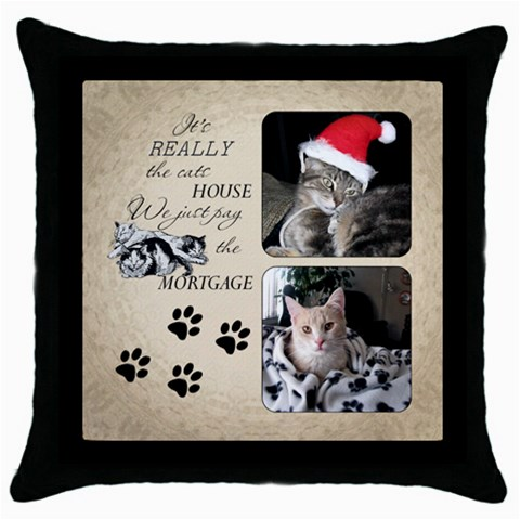 Cats House Throw Pillow Case By Lil    Throw Pillow Case (black)   2voatiewc83d   Www Artscow Com Front