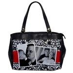 Black & White Damask-Office Handbag (1 side) - Oversize Office Handbag (One Side)