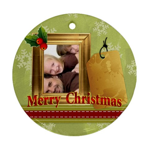 Merry Christmas By Joely   Ornament (round)   89jzqzidskj6   Www Artscow Com Front
