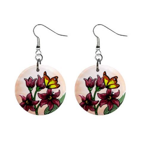 Flower And Butterfly Earrings By Maryanne   1  Button Earrings   Uh87rbna14hm   Www Artscow Com Front