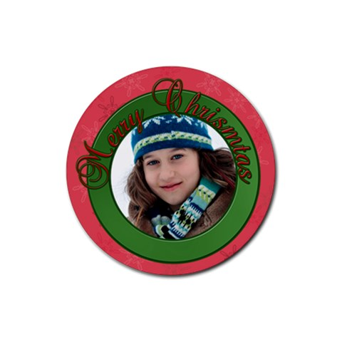 Merry Christmas By Patricia W   Rubber Coaster (round)   X8drdq4uimhu   Www Artscow Com Front