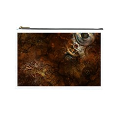 Steampunk Gears Collage Cosmetic Bag (Large) by DesignMonaco