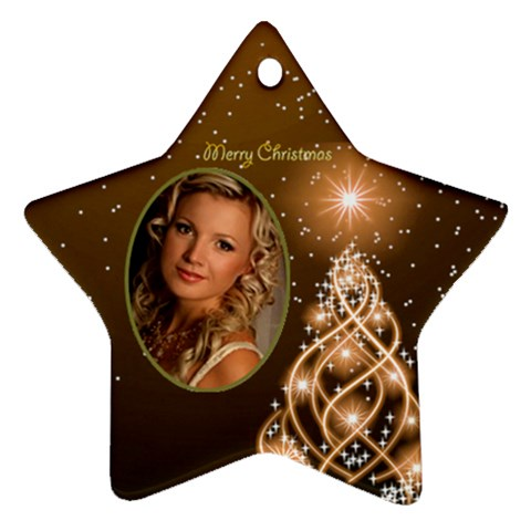 Golden Merry Christmas Star Ornament By Deborah   Ornament (star)   Ijn7q0zyudn7   Www Artscow Com Front