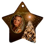 Golden Merry Christmas Star ornament - Ornament (Star)