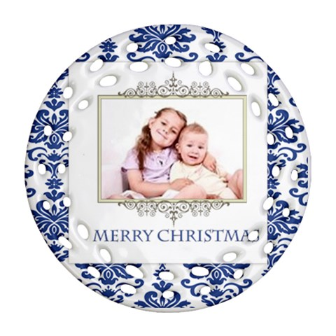 Merry Christmas By Wood Johnson   Ornament (round Filigree)   2j9z6iojyuxq   Www Artscow Com Front