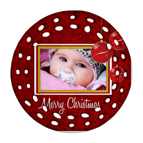 Merry Christmas By Wood Johnson   Ornament (round Filigree)   Oycm65mp7jb6   Www Artscow Com Front