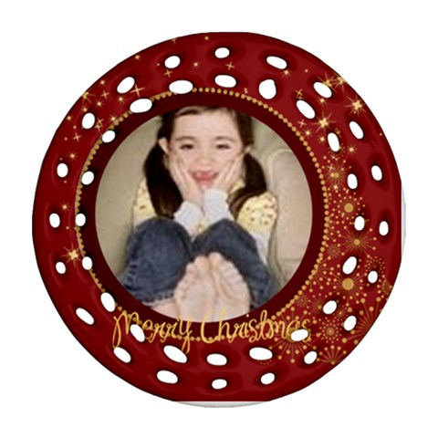 Merry Christmas By Wood Johnson   Ornament (round Filigree)   4d22mk9t0ew2   Www Artscow Com Front