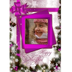 Happy New Year Greeting 5x7 Card (pink) By Deborah   Greeting Card 5  X 7    Tdxv069tfq7l   Www Artscow Com Front Cover
