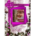 Happy New Year Greeting 5x7 Card (pink) - Greeting Card 5  x 7