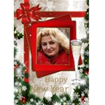 Happy new Year Greeting 5x7 Card (red) - Greeting Card 5  x 7