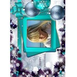 Christmas Greeting 5x7 Card (teal) - Greeting Card 5  x 7