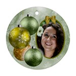 Shades of Pale Green Christmas Round Ornament - Ornament (Round)