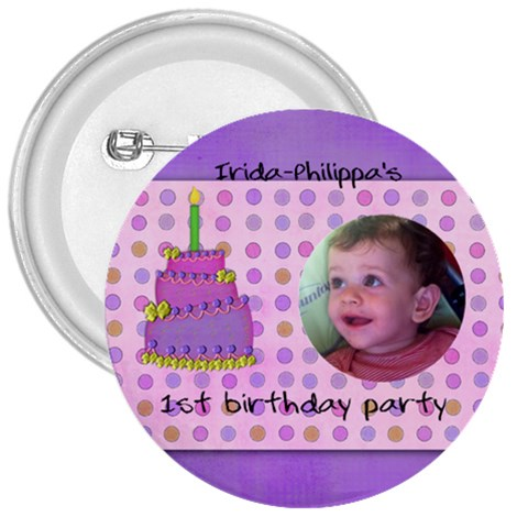 Irida Birthday Button By Marka20300   3  Button   X44kowdjsxo8   Www Artscow Com Front