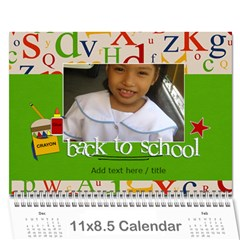 Calendar: Back To School (any Year) By Jennyl   Wall Calendar 11  X 8 5  (12 Months)   Rimrk82719am   Www Artscow Com Cover