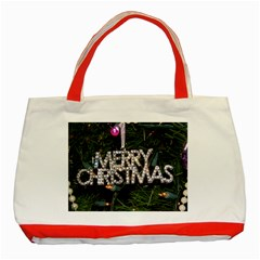 Merry Christmas  Red Tote Bag by tammystotesandtreasures