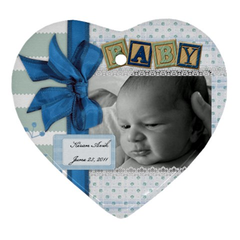 Baby Ornament By Kaitlin   Ornament (heart)   Qka751wh5yft   Www Artscow Com Front