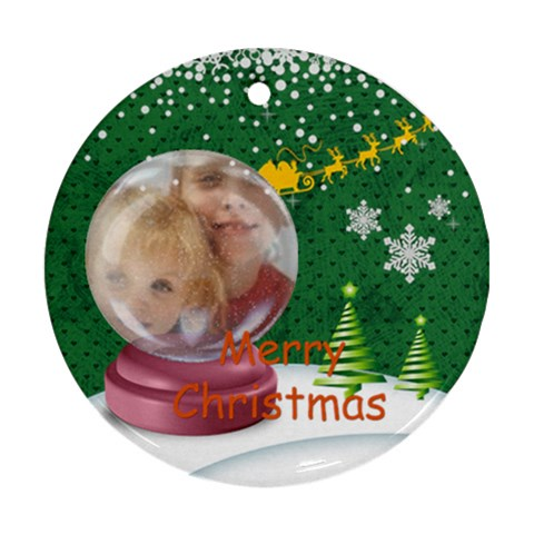 Merry Christmas By Joely   Ornament (round)   39dr67qr9sea   Www Artscow Com Front