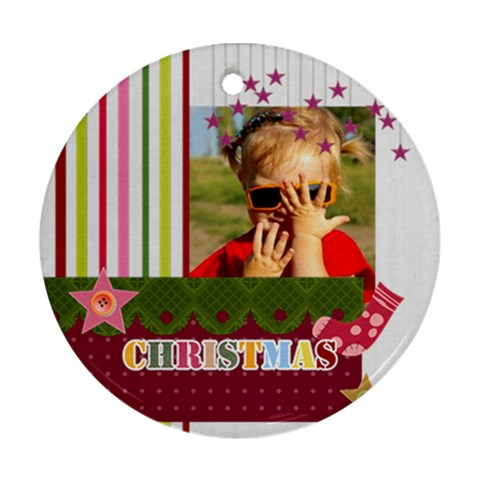 Merry Christmas By Joely   Ornament (round)   V77jtn62fu1e   Www Artscow Com Front