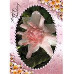 Pink Frangipani Birthday Card (5x7) - Greeting Card 5  x 7