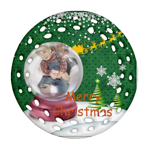 Merry Christmas By Joely   Ornament (round Filigree)   Ero8750as7wt   Www Artscow Com Front