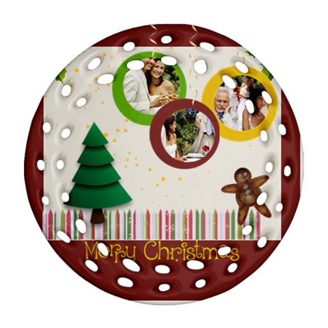 Merry Christmas By Joely   Ornament (round Filigree)   3ualjszw9bgp   Www Artscow Com Front