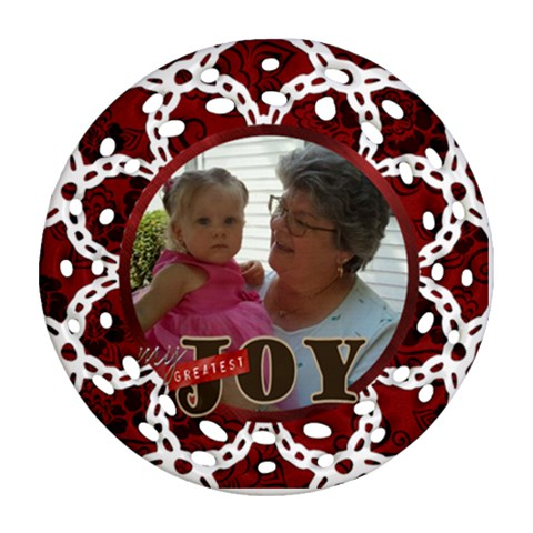 Aunt Mary By Jolene   Ornament (round Filigree)   Jmcb03zcpd1r   Www Artscow Com Front