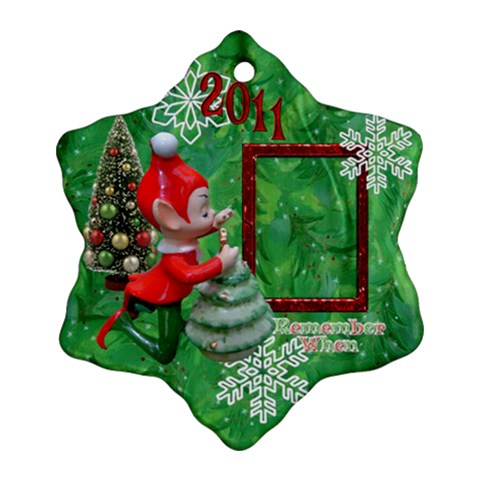 Elf Remember When Snowflake Ornament By Ellan   Ornament (snowflake)   Zv18ux6mhcst   Www Artscow Com Front