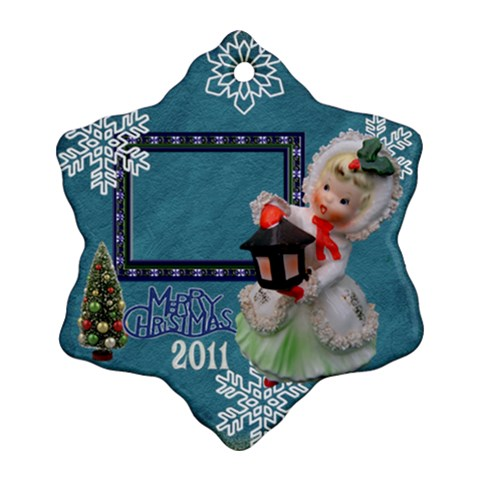 Lantern Girl Blue Snowflake Ornament by Ellan Front