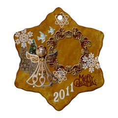 Gold Angel 2 Side Snowflake Ornament By Ellan   Snowflake Ornament (two Sides)   Hv3n71v77wwh   Www Artscow Com Front
