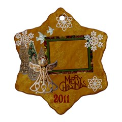 Gold Angel 2 Side Snowflake Ornament By Ellan   Snowflake Ornament (two Sides)   Hv3n71v77wwh   Www Artscow Com Back