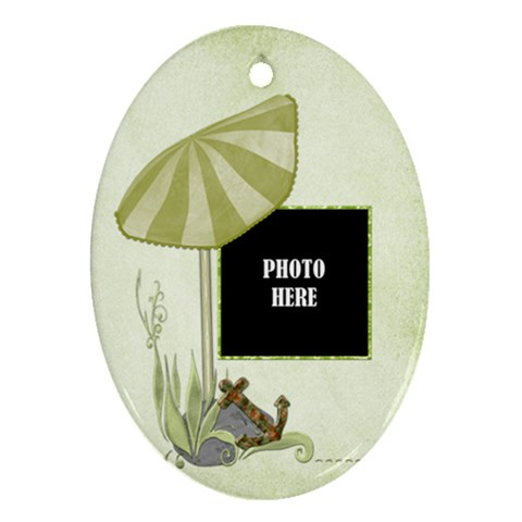Beach Times Ornament 1 By Lisa Minor   Ornament (oval)   3icqakaye4l7   Www Artscow Com Front