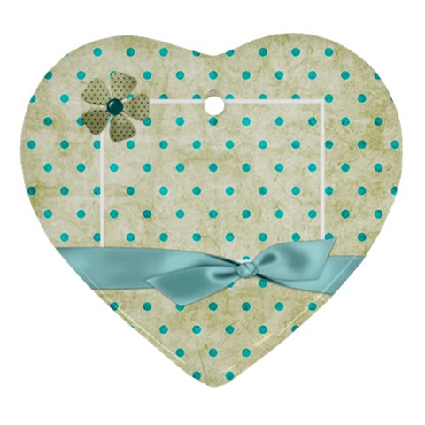 Covered In Teal Heart Ornament 1 By Lisa Minor   Ornament (heart)   Haoc2r9eeooa   Www Artscow Com Front