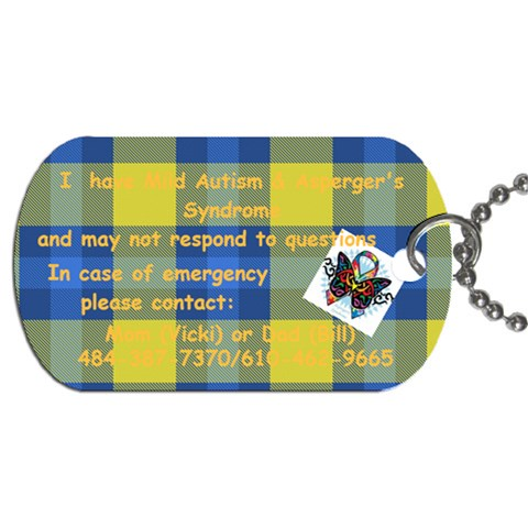 Cj By Vicki   Dog Tag (one Side)   3z6brsvl42j5   Www Artscow Com Front