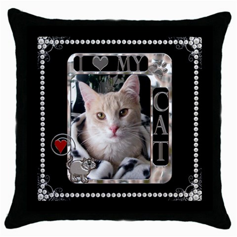 I Love My Cat Throw Pillow Case By Lil    Throw Pillow Case (black)   28jvc7kdmcqd   Www Artscow Com Front