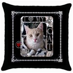 I Love My Cat Throw Pillow Case - Throw Pillow Case (Black)