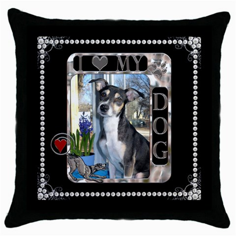 I Love My Dog Throw Pillow Case By Lil    Throw Pillow Case (black)   Dh57upn6hulv   Www Artscow Com Front