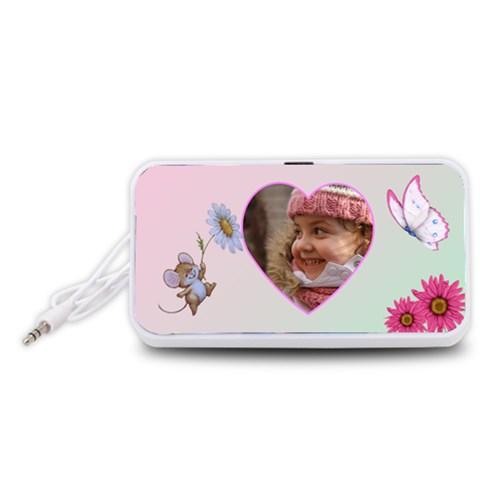 All My Heart Portable Headphones By Deborah   Portable Speaker (white)   09zptcyr100c   Www Artscow Com Front