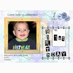 Ist Birthday Party 5x7 Invitation by Lil 7 x5 Photo Card - 7