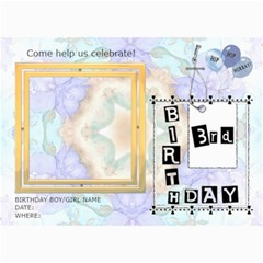 3rd Birthday Party 5x7 Invitation By Lil    5  X 7  Photo Cards   Tgm77e8jacq6   Www Artscow Com 7 x5 Photo Card - 3