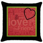 text art - blk cushion -04 - Throw Pillow Case (Black)