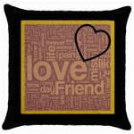 text art - blk cushion -03 - Throw Pillow Case (Black)